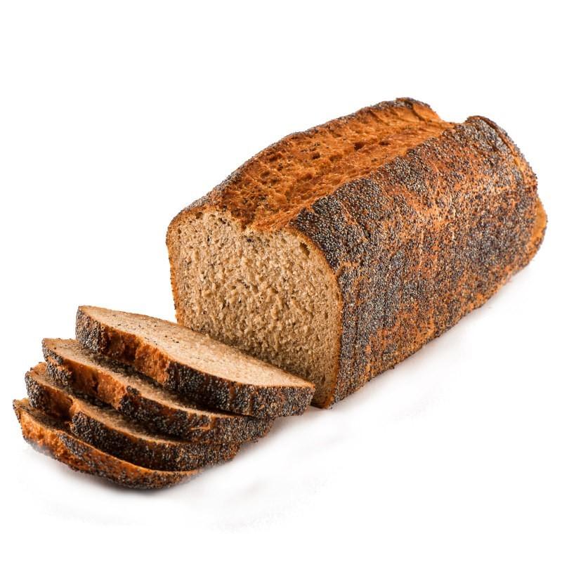 Pan integral de trigo khorasan con semillas de amapola. Molde cortado 750 gr.